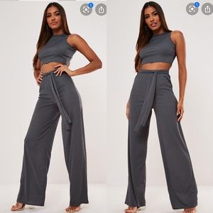 Missguided crop top & belted trousers co ord set